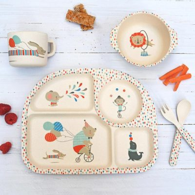 бамбуковая посуда для детей с интересным дизайном