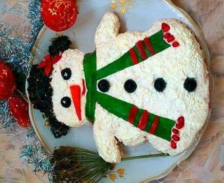 детский салат Снеговик